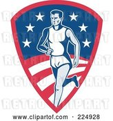 Vector Clip Art of Retro Runner on an American Shield Logo by Patrimonio