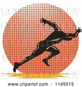 Vector Clip Art of Retro Runner Sprinting over a Halftone Circle by Patrimonio