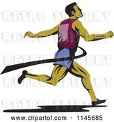 Vector Clip Art of Retro Runner Sprinting Through the Finish Line by Patrimonio
