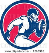 Vector Clip Art of Retro Running American Football Player in a Blue White and Pink Circle by Patrimonio