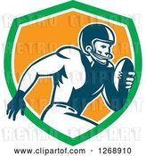 Vector Clip Art of Retro Running American Football Player in a Green White and Orange Shield by Patrimonio