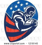 Vector Clip Art of Retro Running Back American Football Player in an American Design by Patrimonio