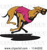 Vector Clip Art of Retro Running Greyhound Dog 4 by Patrimonio