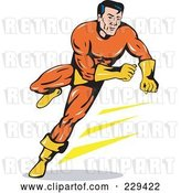 Vector Clip Art of Retro Running Super Hero by Patrimonio