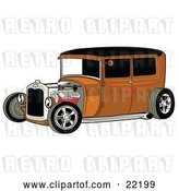 Vector Clip Art of Retro Rust Brown Rat Rod Car with a Black Roof, Red Accents and Chrome Wheels by Andy Nortnik