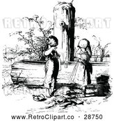 Vector Clip Art of Retro Sad Children with a Broken Pot at a Water Pump by Prawny Vintage