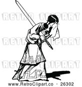 Vector Clip Art of Retro Sad Girl Holding a Sword by Prawny Vintage