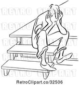 Vector Clip Art of Retro Sad Guy Sitting on Steps by Picsburg