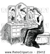 Vector Clip Art of Retro Sad Woman Looking at Her Reflection by Prawny Vintage