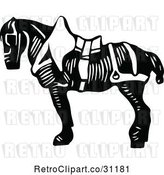Vector Clip Art of Retro Saddled Horse by Prawny Vintage