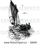 Vector Clip Art of Retro Sailboat with Passengers by Prawny Vintage