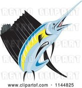 Vector Clip Art of Retro Sailfish 5 by Patrimonio