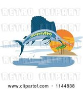 Vector Clip Art of Retro Sailfish Leaping near an Island by Patrimonio