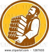 Vector Clip Art of Retro Saint Jerome Carrying a Stack of Books in a Brown White and Yellow Circle by Patrimonio