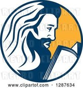 Vector Clip Art of Retro Saint Jerome Reading a Book in a Blue and Yellow Circle by Patrimonio