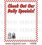 "Vector Clip Art of Retro Salt and Pepper Shakers and Text Reading ""Check out Our Daily Specials!"" Borderd by Red Checkers by Andy Nortnik"