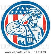 Vector Clip Art of Retro Saluting American Soldier over an American Flag Circle by Patrimonio