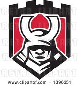 Vector Clip Art of Retro Samurai Mask in a Black White and Red Shield by Patrimonio
