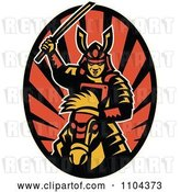 Vector Clip Art of Retro Samurai Warrior on Horseback with a Raised Katana Sword over Rays by Patrimonio