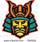 Vector Clip Art of Retro Samurai Warrior Wearing Mengu Facial Armour by Patrimonio