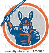 Vector Clip Art of Retro Samurai Warrior with a Catana Sword in a Circle by Patrimonio