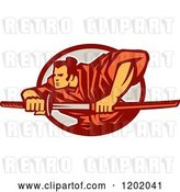 Vector Clip Art of Retro Samurai Warrior with a Catana Sword in an Oval by Patrimonio