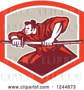 Vector Clip Art of Retro Samurai Warrior with a Katana Sword in a Shield by Patrimonio