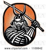 Vector Clip Art of Retro Samurai Warrior with a Katana Sword on Orange by Patrimonio