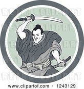 Vector Clip Art of Retro Samurai Warror Swinging a Katana Sword in a Circle by Patrimonio