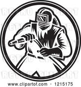 Vector Clip Art of Retro Sand Blaster Guy Holding a Hose 2 by Patrimonio