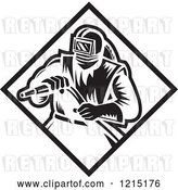 Vector Clip Art of Retro Sand Blaster Guy Holding a Hose 3 by Patrimonio