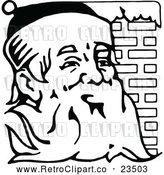Vector Clip Art of Retro Santa Claus Beside Brick Chimney by Prawny Vintage
