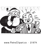 Vector Clip Art of Retro Santa Claus Beside Man with Pen and Paper - Black and White Version by BestVector