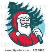 Vector Clip Art of Retro Santa Claus Carrying a Christmas Tree over His Shoulder in a Blue Circle by Patrimonio