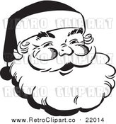 Vector Clip Art of Retro Santa Claus Face Outline by BestVector