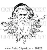 Vector Clip Art of Retro Santa Claus Featuring His Beard by Prawny Vintage