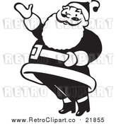 Vector Clip Art of Retro Santa Claus Presenting - Black and White Version by BestVector