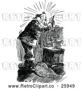 Vector Clip Art of Retro Santa Claus Reading a Christmas Letter Under Candle Light by Prawny Vintage