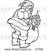 Vector Clip Art of Retro Santa Claus Shushing - Be Quite by Prawny Vintage