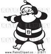 Vector Clip Art of Retro Santa Claus Singing and Pointing - Black and White Version by BestVector