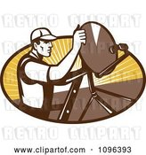 Vector Clip Art of Retro Satellite Dish Installer or Repair Guy over an Oval with Rays by Patrimonio