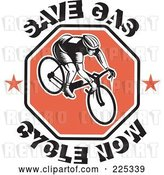 Vector Clip Art of Retro Save Gas Cycle Now Text Around a Bicyclist on a Red Octagon by Patrimonio