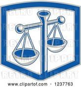 Vector Clip Art of Retro Scales of Justice in a Shield by Patrimonio