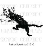 Vector Clip Art of Retro Scared Cat by Prawny Vintage