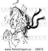 Vector Clip Art of Retro Scared Girl by Prawny Vintage