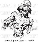 Vector Clip Art of Retro Scary Mummy with Loose Bandages, Reaching Forward by Lawrence Christmas Illustration