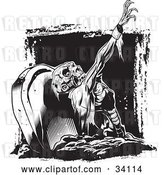 Vector Clip Art of Retro Scary Zombie Corpse Rising from the Grave in a Cemetery by Lawrence Christmas Illustration