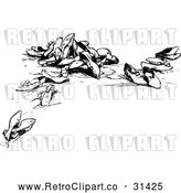 Vector Clip Art of Retro Scattered Shoes by Prawny Vintage