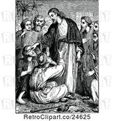 Vector Clip Art of Retro Scene of Jesus Healing the Blind by Prawny Vintage