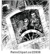 Vector Clip Art of Retro Scene of Lincolns Stormy Voyage by Prawny Vintage